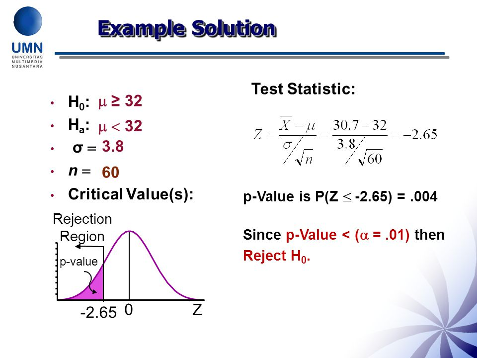 Example Solution Test Statistic: H0:  ≥ 32 Ha: σ   < 32 n 