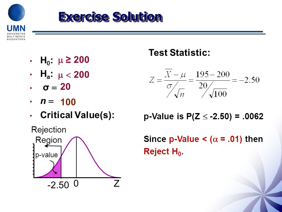 Exercise Solution Test Statistic: H0:  ≥ 200 Ha: σ   < 200 n 