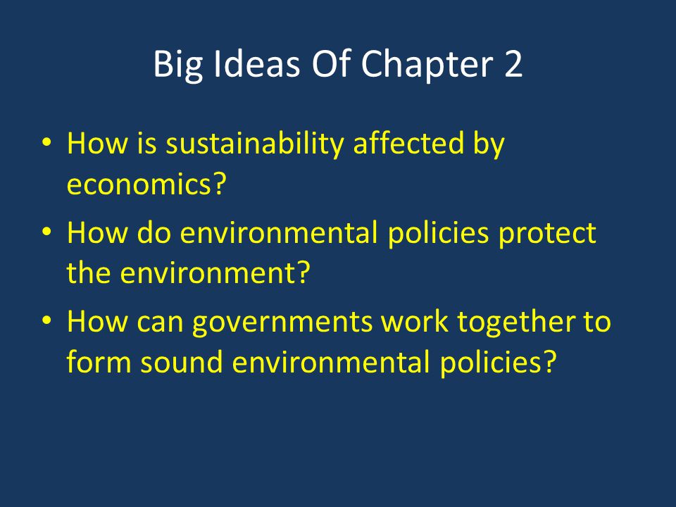 Big Ideas Of Chapter 2 How is sustainability affected by economics