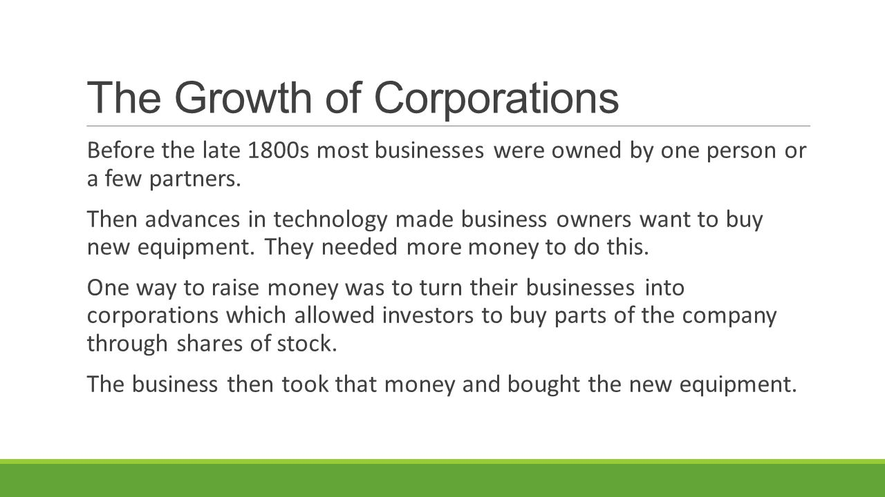 The Growth of Corporations