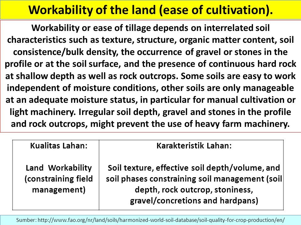 Workability of the land (ease of cultivation).