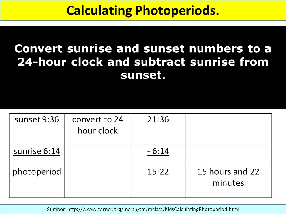 Calculating Photoperiods.