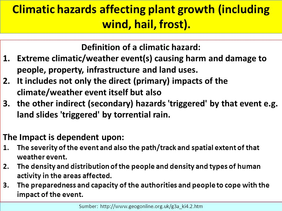 Climatic hazards affecting plant growth (including wind, hail, frost).