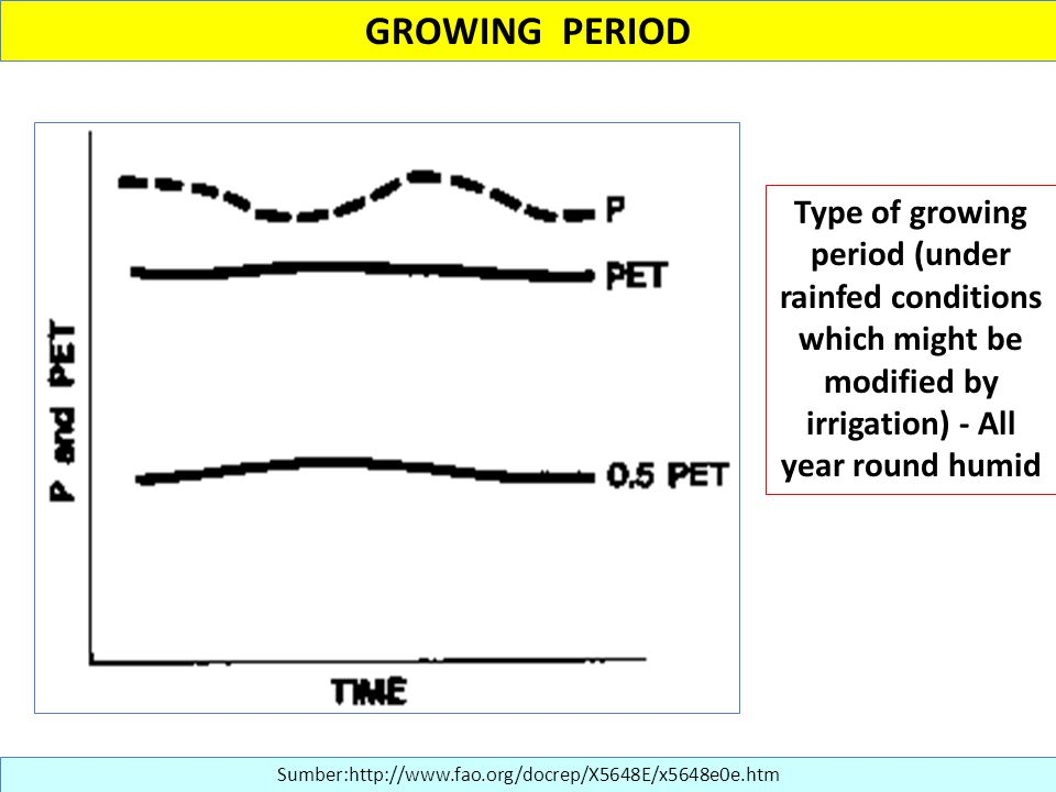 GROWING PERIOD Type of growing period (under rainfed conditions which might be modified by irrigation) - All year round humid.