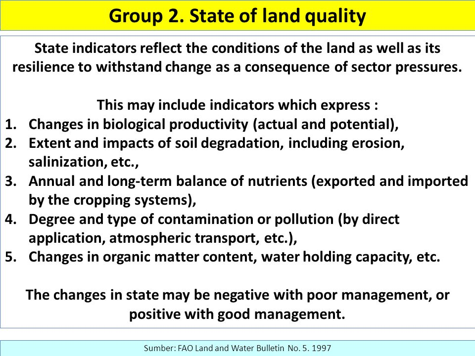 Group 2. State of land quality