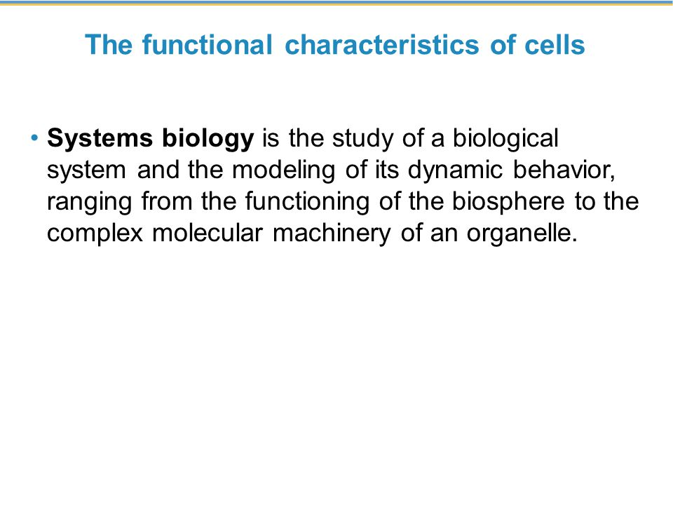 The functional characteristics of cells
