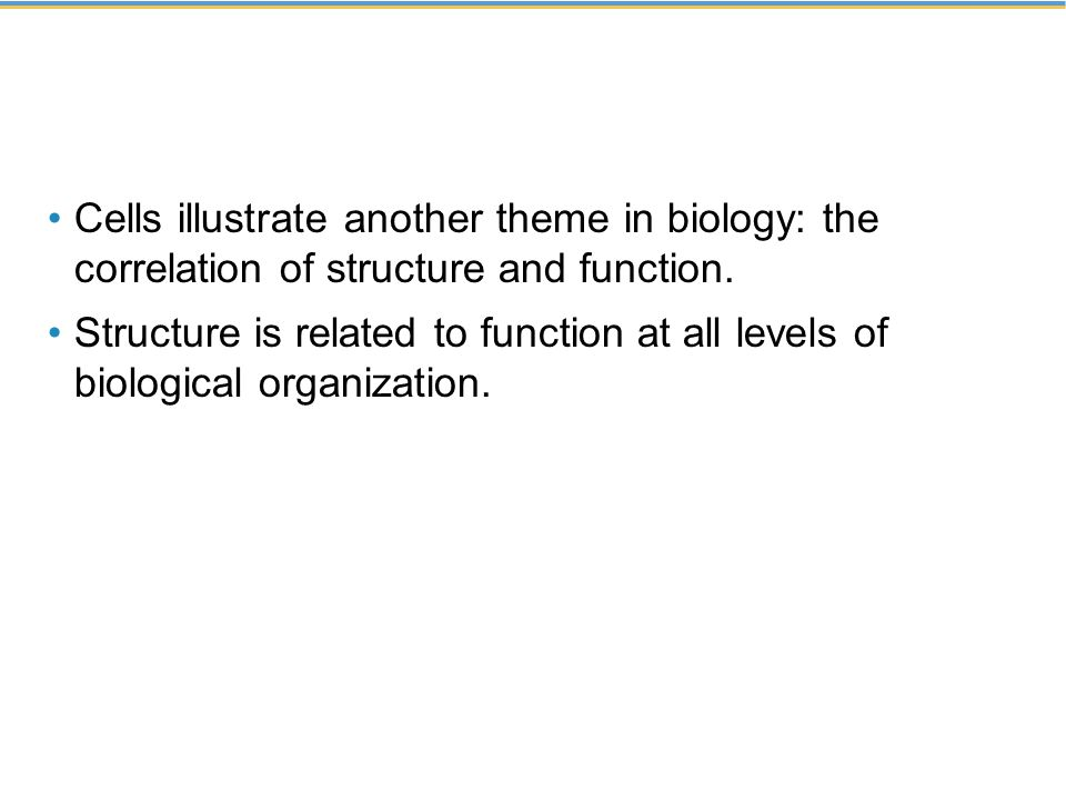 Cells illustrate another theme in biology: the correlation of structure and function.