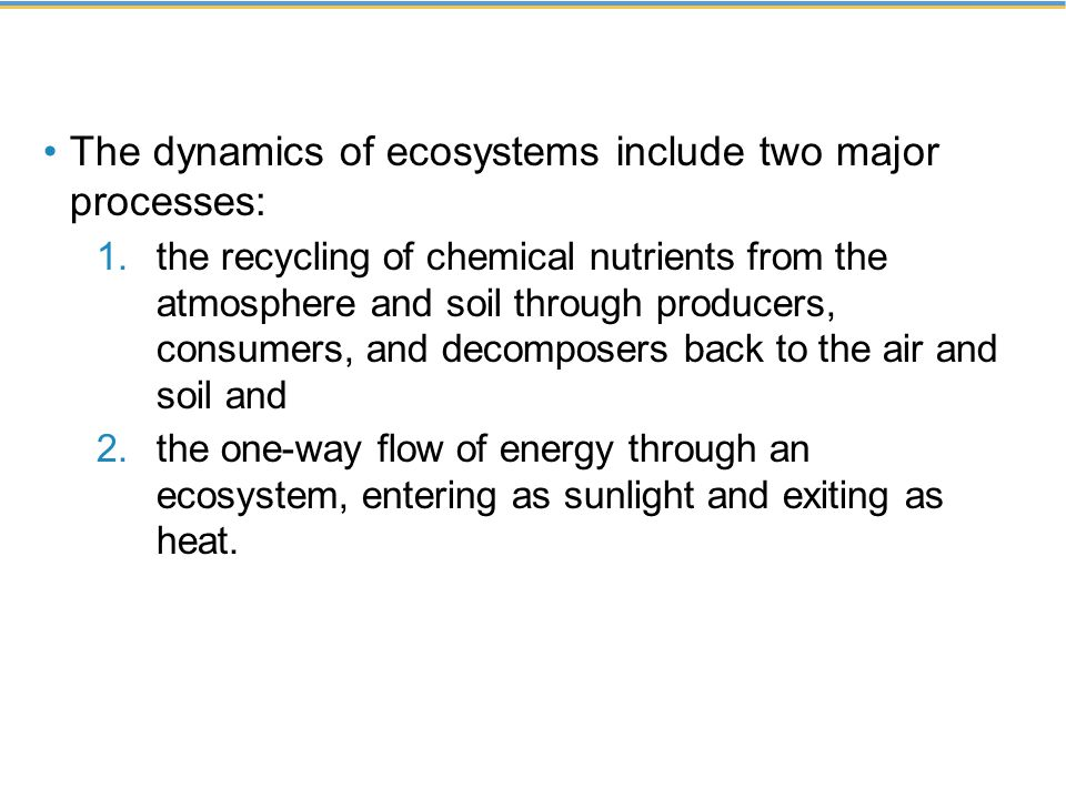 The dynamics of ecosystems include two major processes: