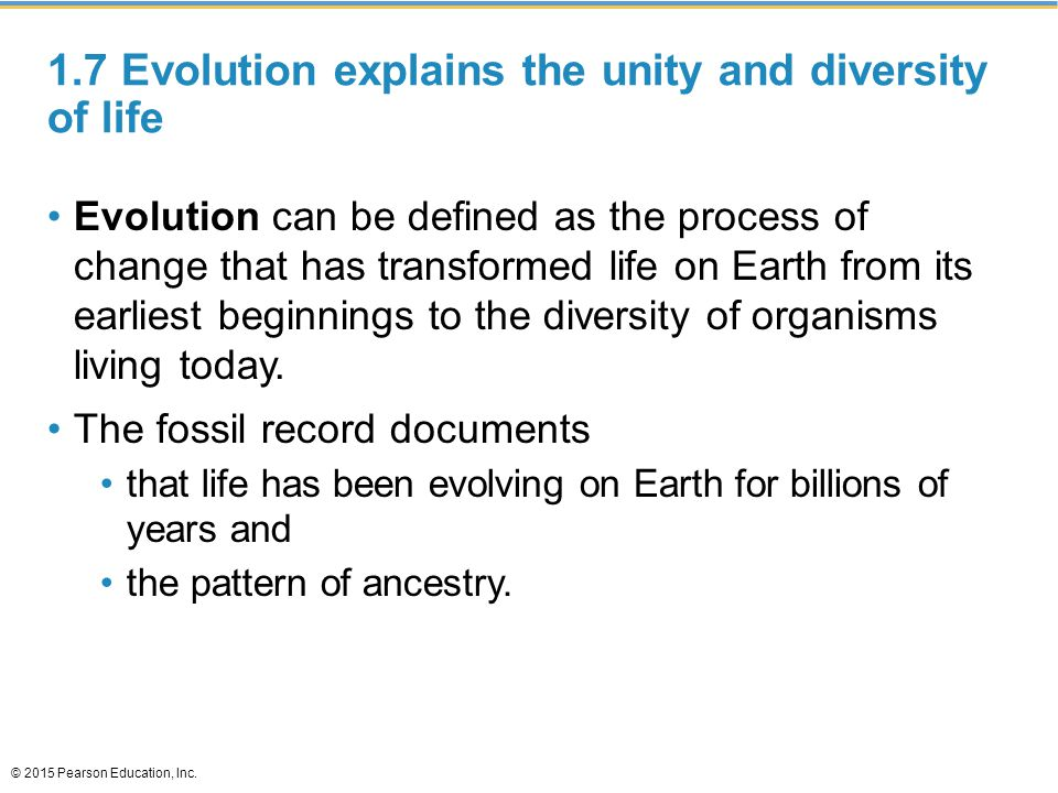 1.7 Evolution explains the unity and diversity of life