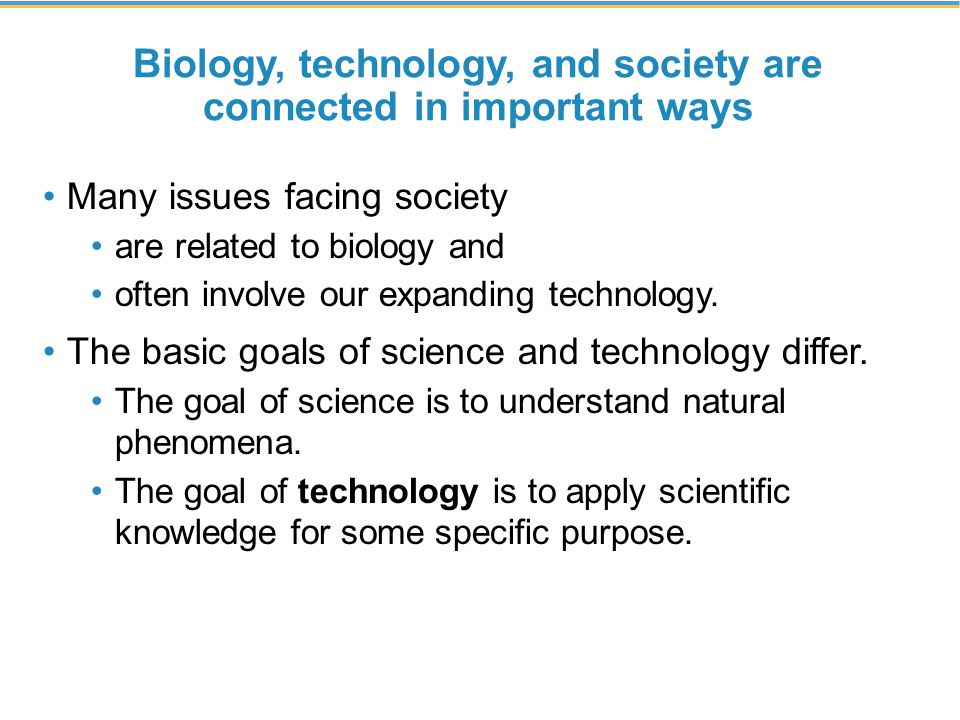 Biology, technology, and society are connected in important ways