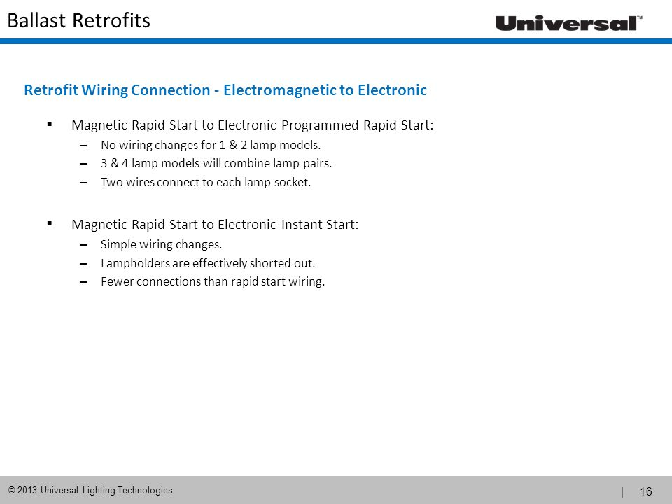 Retrofit Wiring Connection - Electromagnetic to Electronic