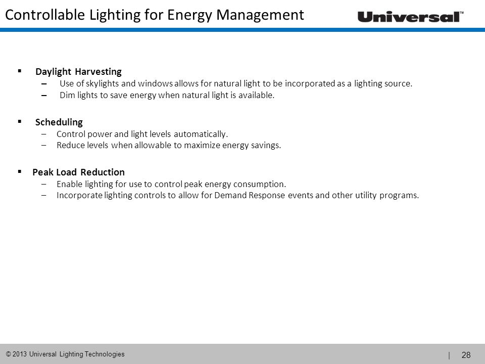 Controllable Lighting for Energy Management