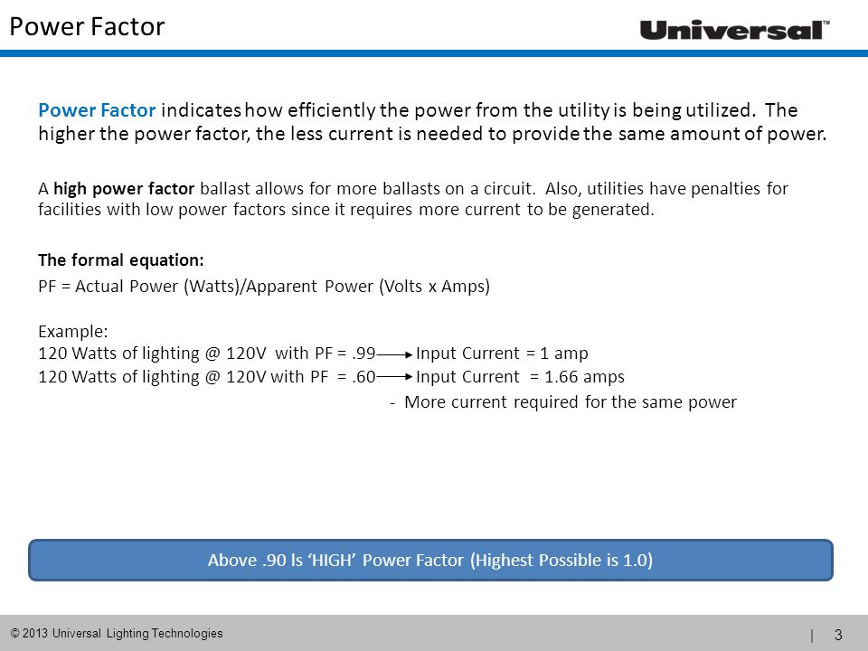 Above .90 ls 'HIGH' Power Factor (Highest Possible is 1.0)