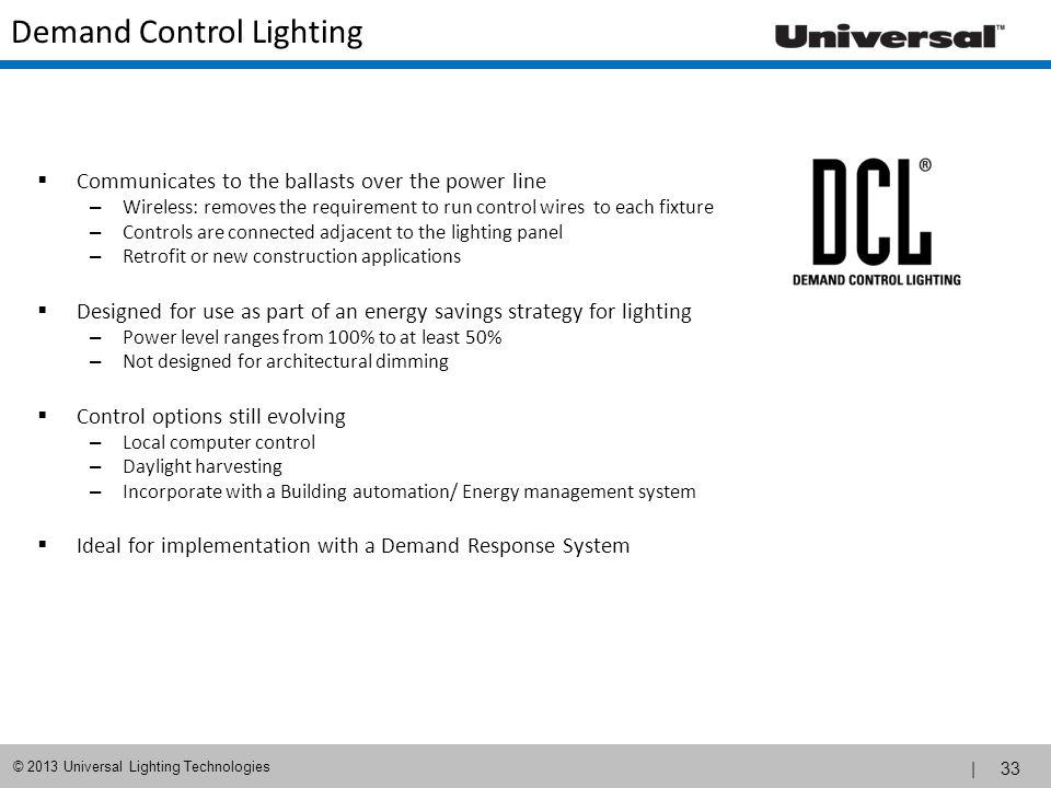 Demand Control Lighting