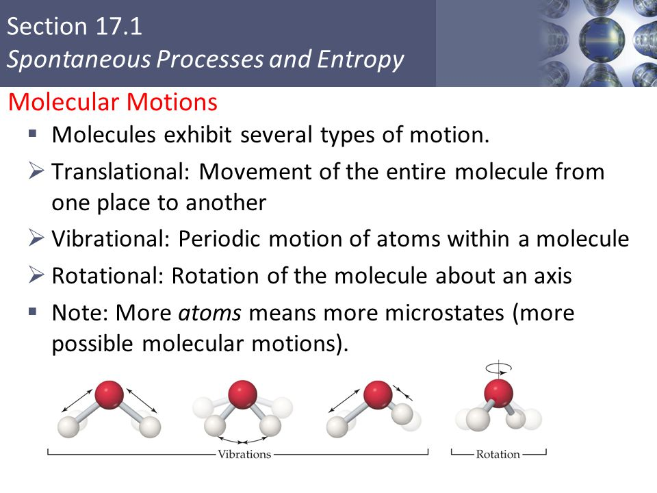 Molecular Motions Molecules exhibit several types of motion.