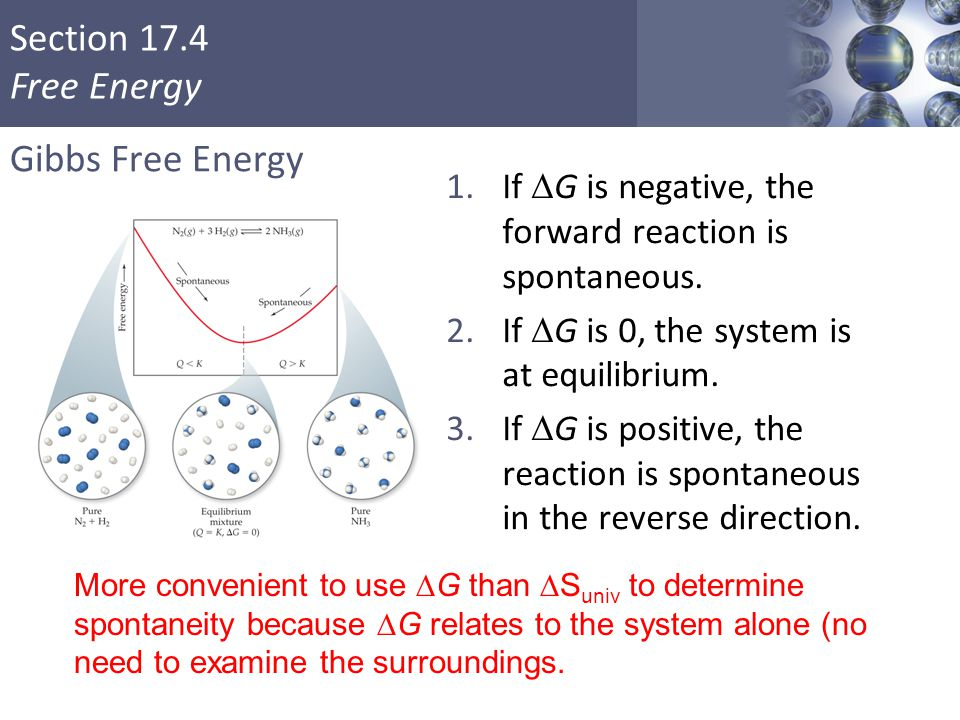 Gibbs Free Energy If DG is negative, the forward reaction is spontaneous. If DG is 0, the system is at equilibrium.