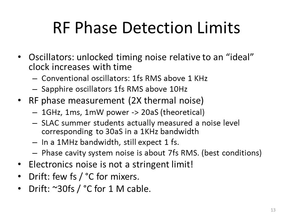 RF Phase Detection Limits