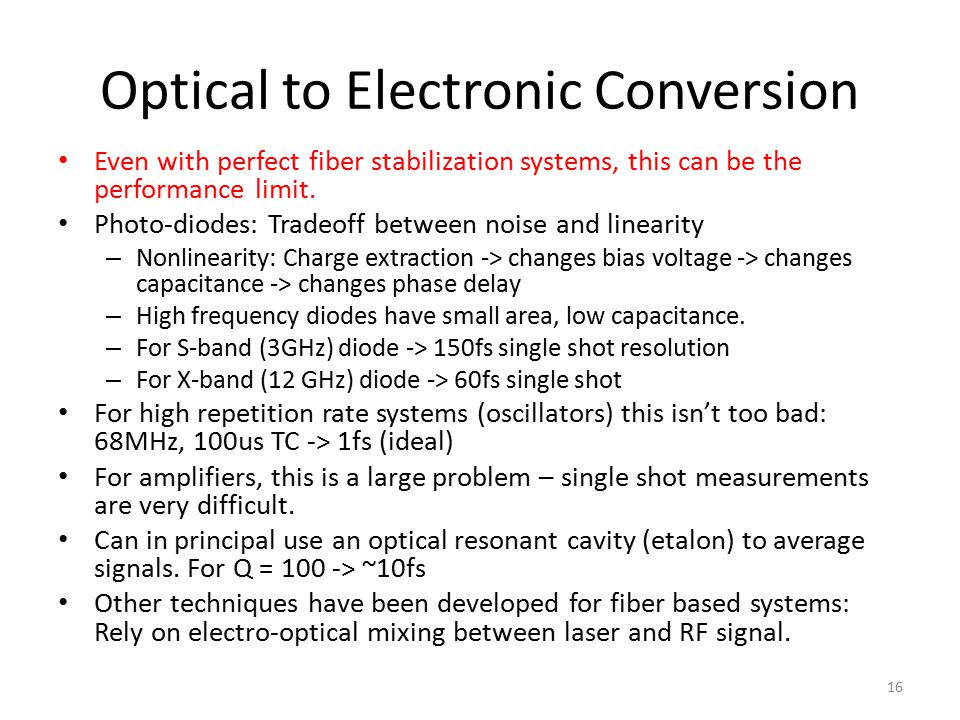 Optical to Electronic Conversion