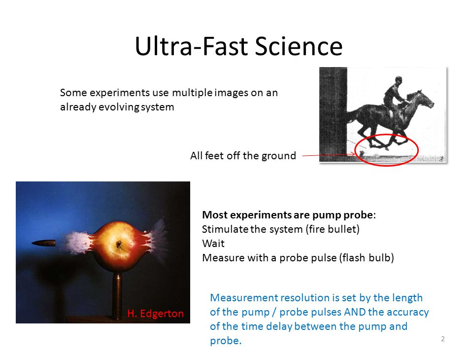 Ultra-Fast Science Some experiments use multiple images on an already evolving system. All feet off the ground.
