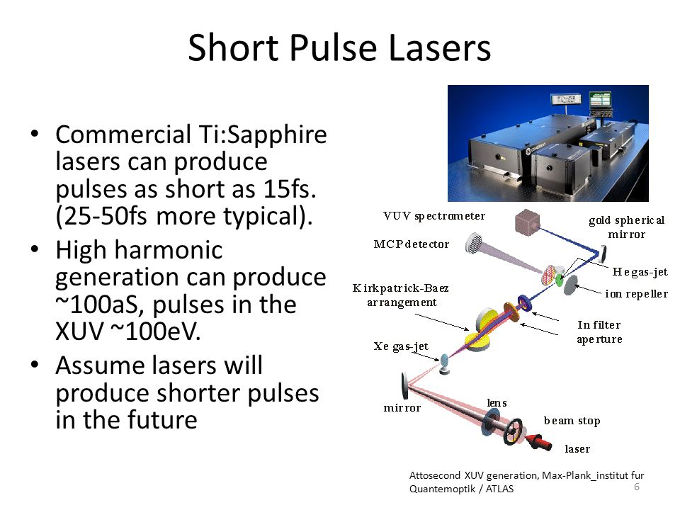 Short Pulse Lasers Commercial Ti:Sapphire lasers can produce pulses as short as 15fs. (25-50fs more typical).