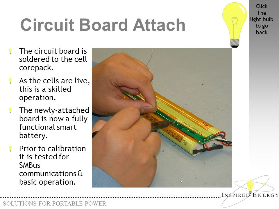 Click The. light bulb. to go. back. Circuit Board Attach. The circuit board is soldered to the cell corepack.