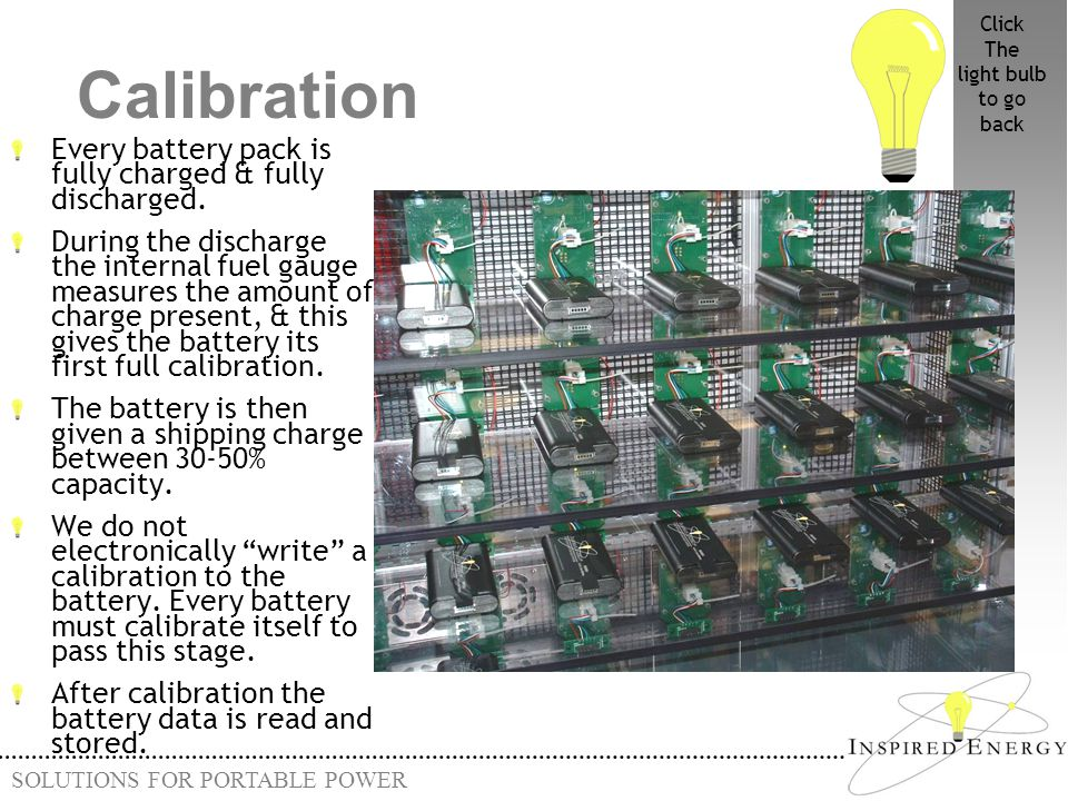 Calibration Every battery pack is fully charged & fully discharged.