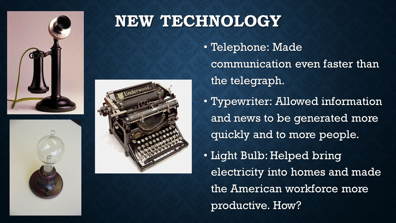 New Technology Telephone: Made communication even faster than the telegraph.
