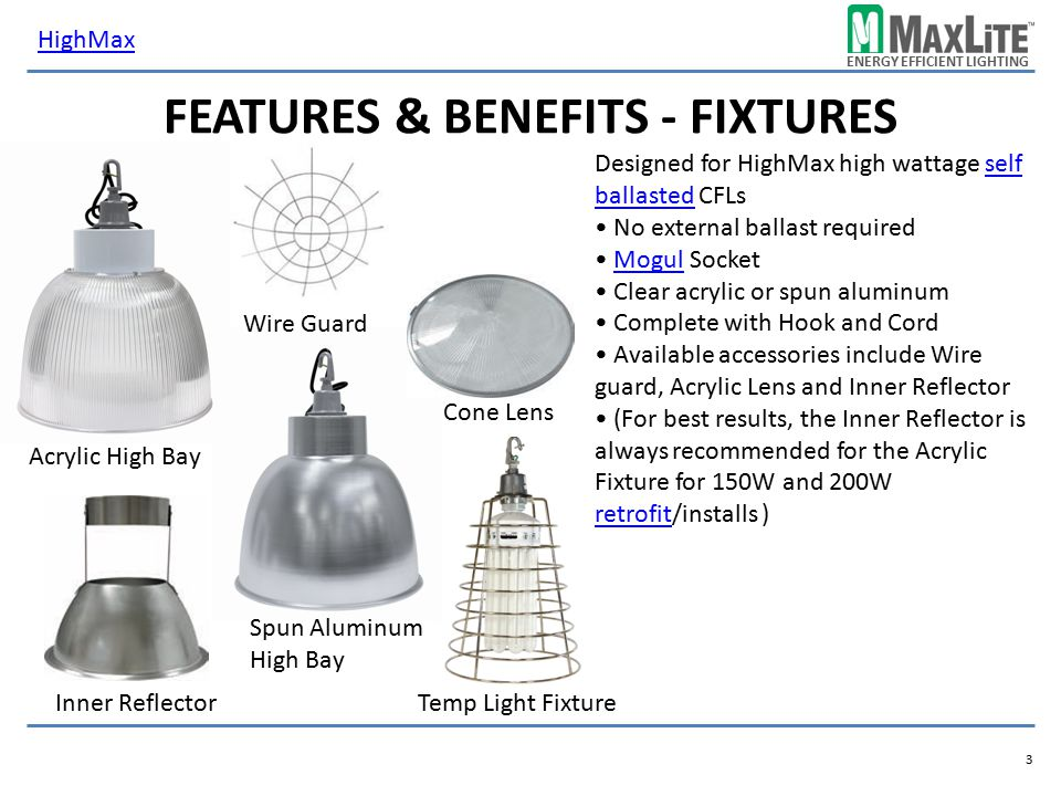 Features & Benefits - fixtures