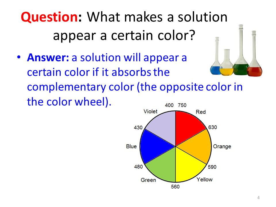 Question: What makes a solution appear a certain color