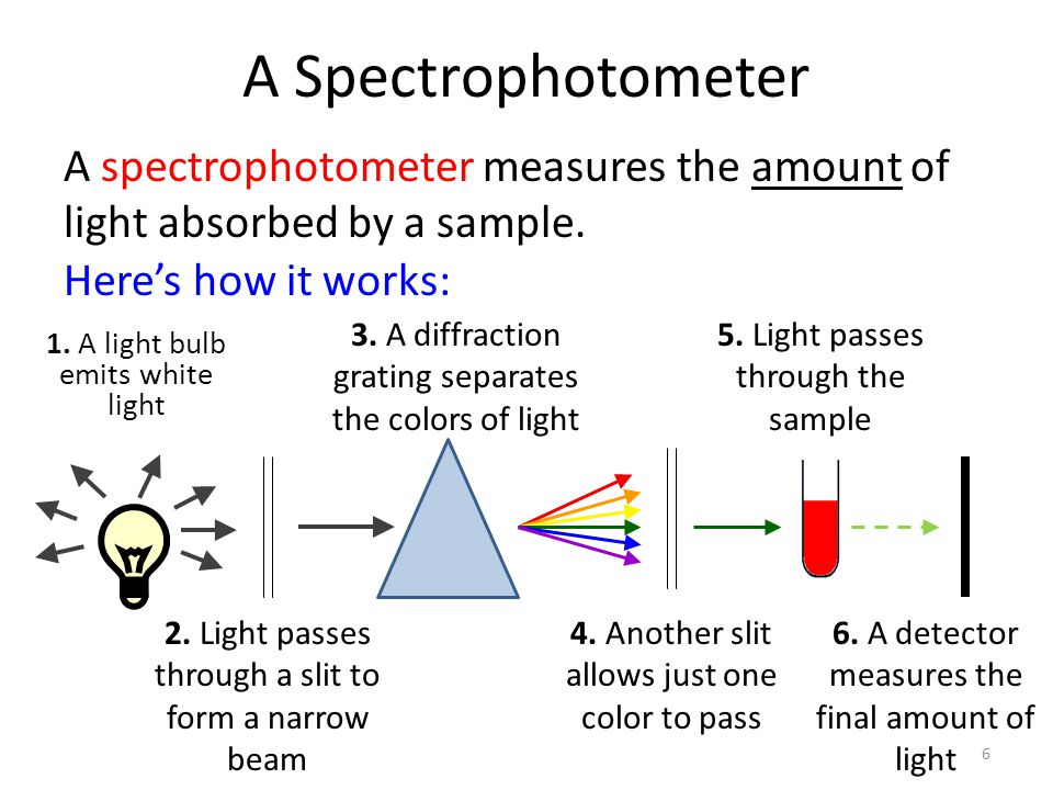 A Spectrophotometer A spectrophotometer measures the amount of light absorbed by a sample. Here's how it works: