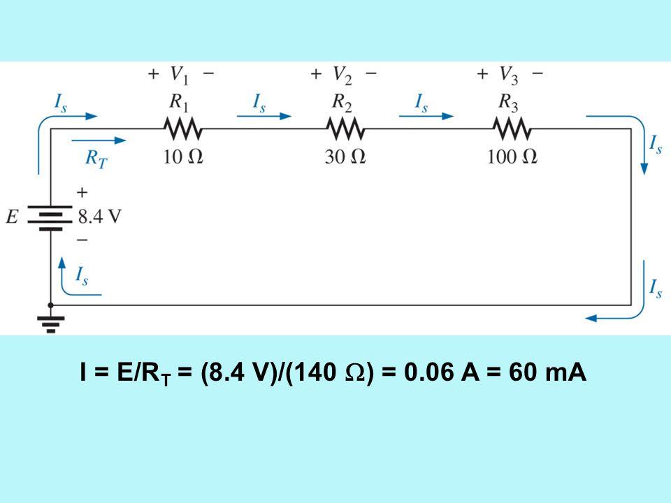 I = E/RT = (8.4 V)/(140 ) = 0.06 A = 60 mA