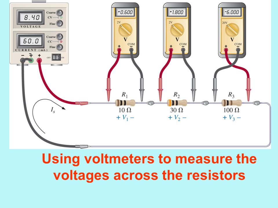 Using voltmeters to measure the voltages across the resistors