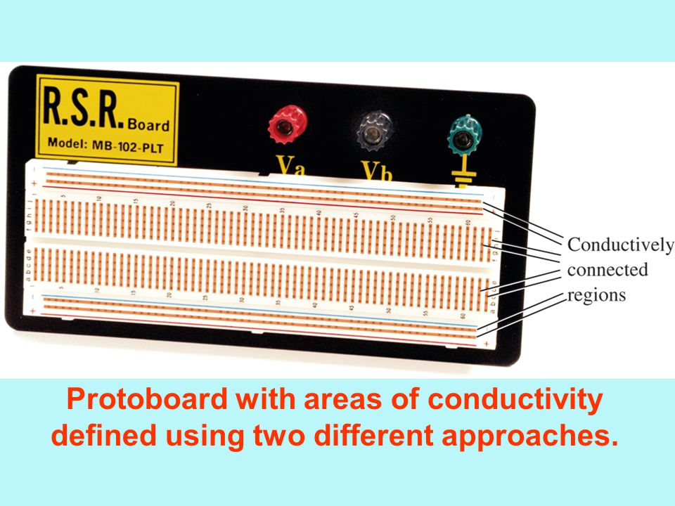 Protoboard with areas of conductivity defined using two different approaches.