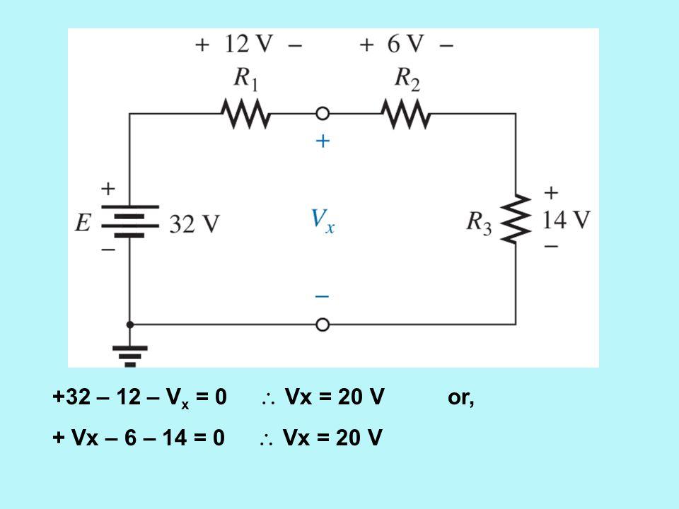 +32 – 12 – Vx = 0  Vx = 20 V or, + Vx – 6 – 14 = 0  Vx = 20 V