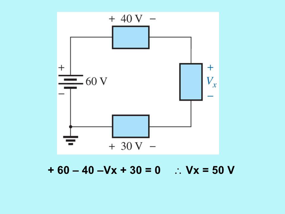 + 60 – 40 –Vx + 30 = 0  Vx = 50 V