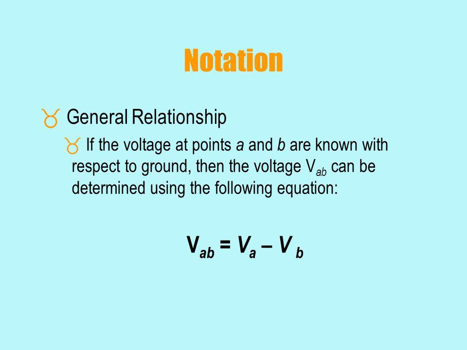 Notation Vab = Va – V b General Relationship