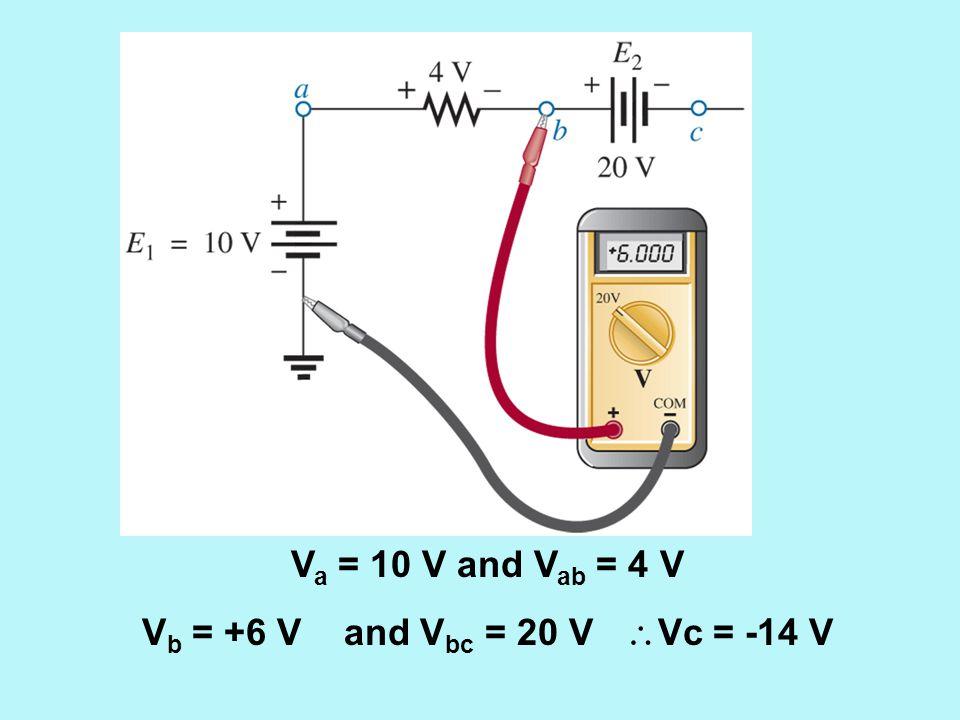 Va = 10 V and Vab = 4 V Vb = +6 V and Vbc = 20 V Vc = -14 V