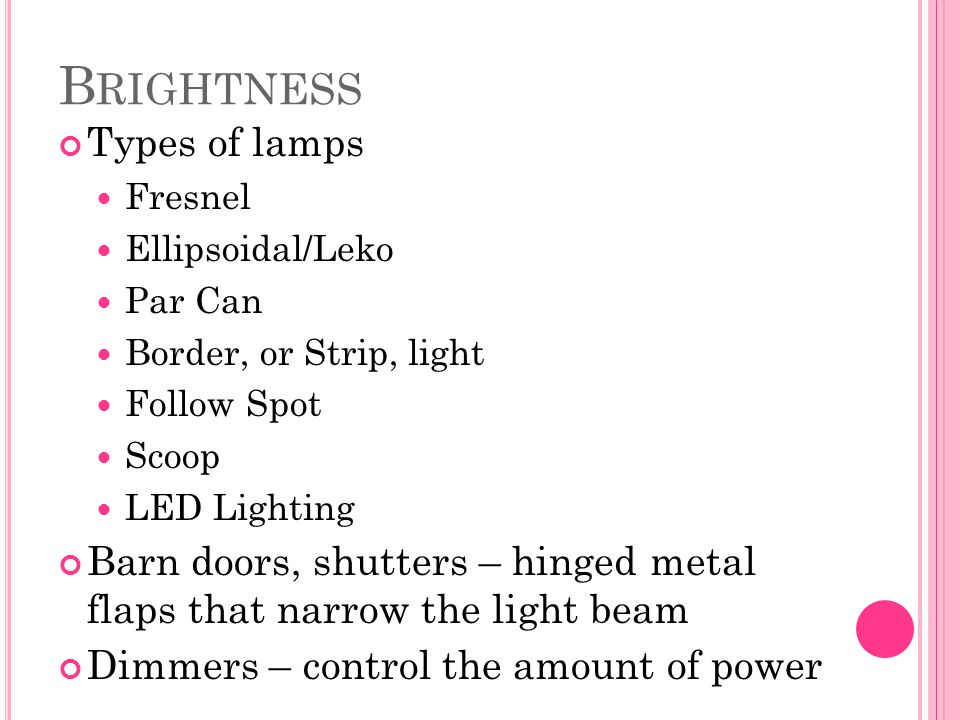Brightness Types of lamps