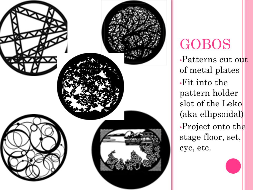 GOBOS Patterns cut out of metal plates