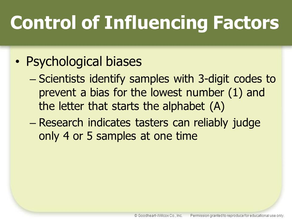 Control of Influencing Factors