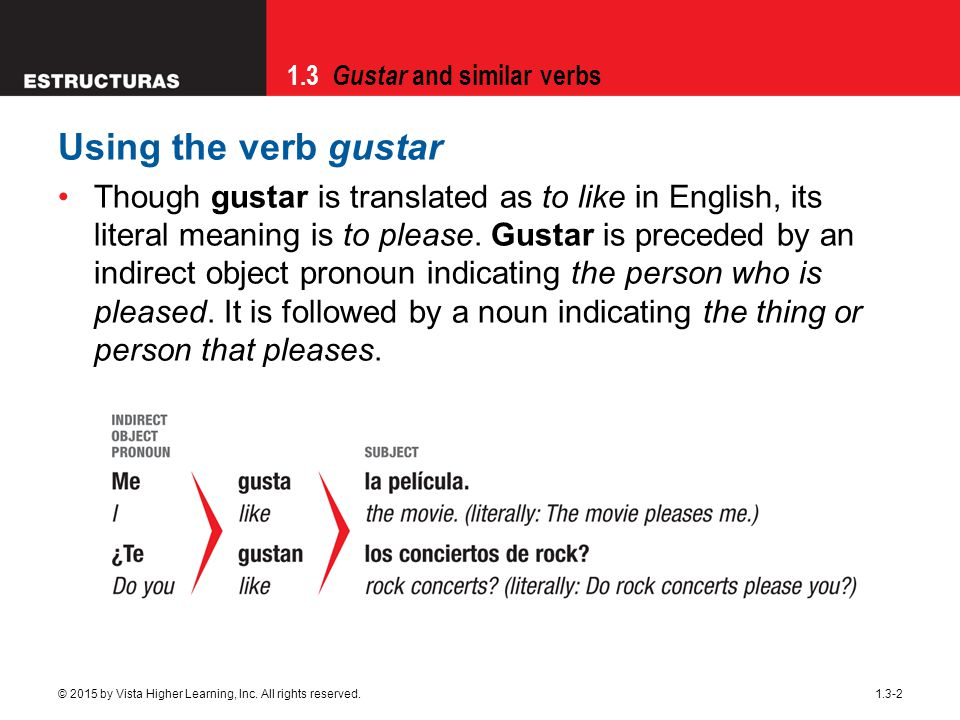 Using the verb gustar