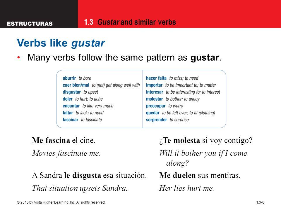 Verbs like gustar Many verbs follow the same pattern as gustar.