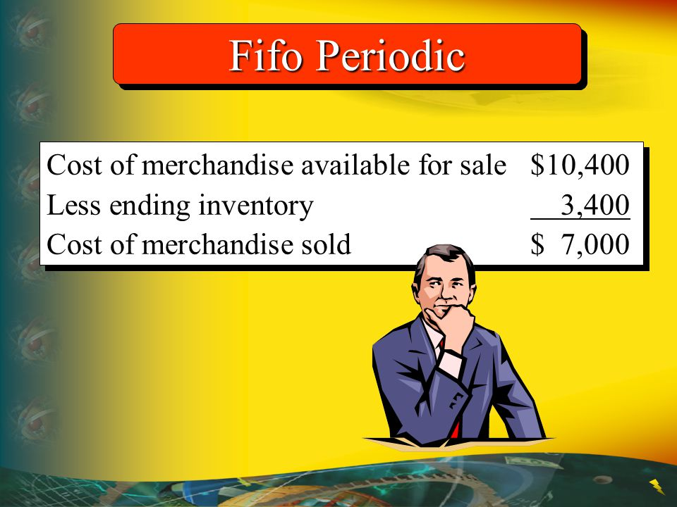 Fifo Periodic Cost of merchandise available for sale $10,400