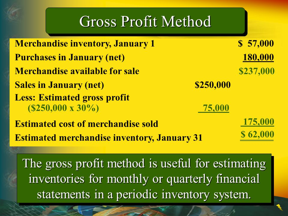 Gross Profit Method Merchandise inventory, January 1 $ 57,000. Purchases in January (net) 180,000.