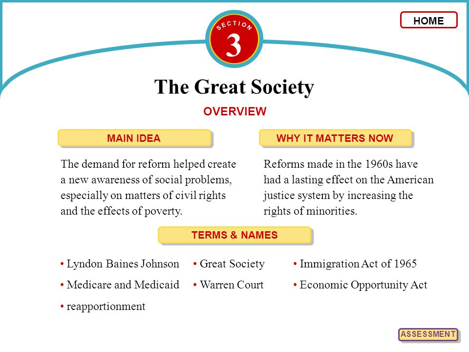 3 The Great Society OVERVIEW