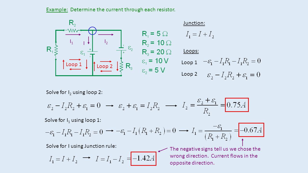 Example: Determine the current through each resistor.