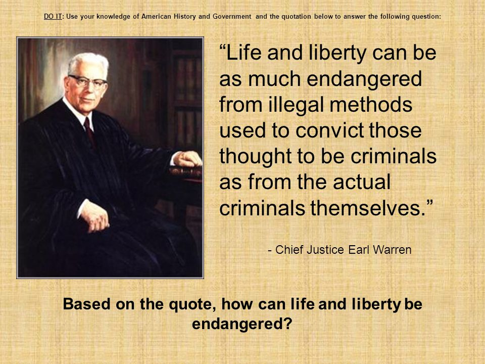Based on the quote, how can life and liberty be endangered