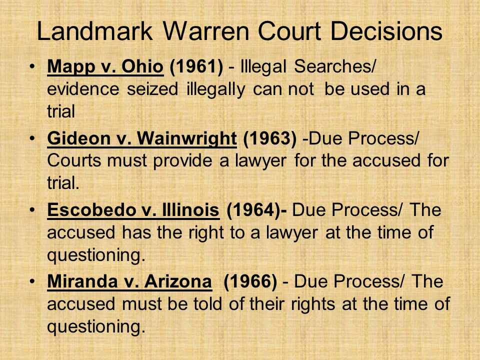 Landmark Warren Court Decisions