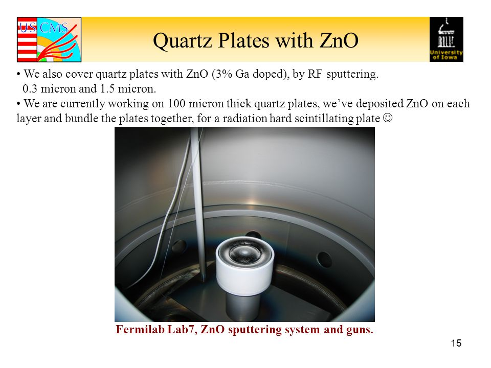 Quartz Plates with ZnO We also cover quartz plates with ZnO (3% Ga doped), by RF sputtering. 0.3 micron and 1.5 micron.