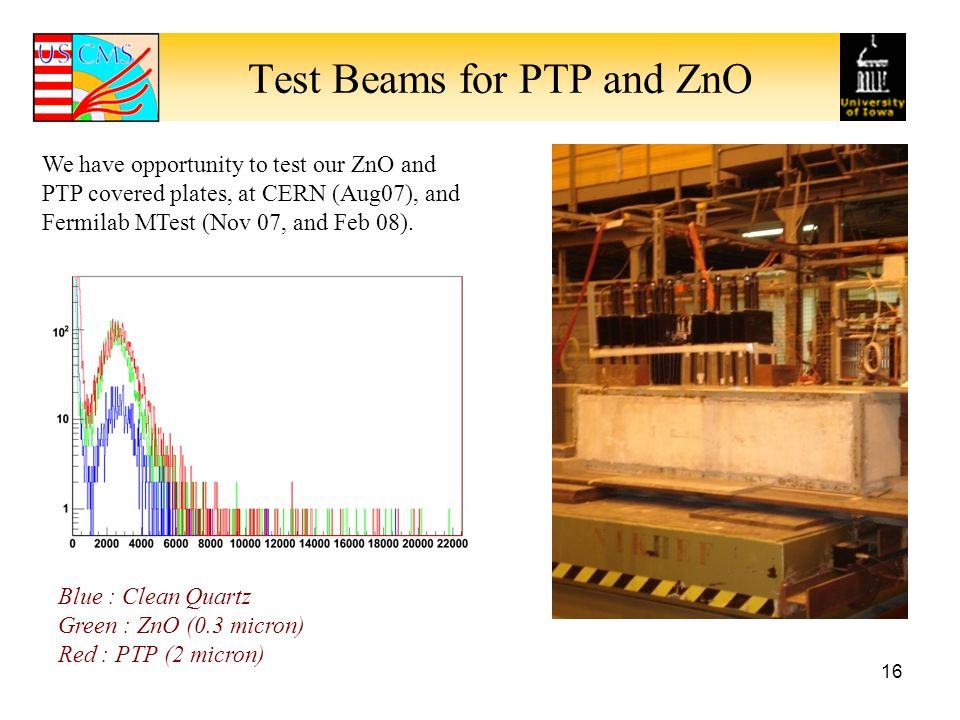 Test Beams for PTP and ZnO
